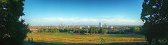A bit of a view of Londinium (coalhole2) Tags: parliamenthill london panoramic samsunggalaxynote4 snapseed buildings grass park moon