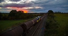 Colas sunset? (Peter Leigh50) Tags: kilby bridge junction freight freightliner colas oil train tug class 66 60 shed sunset clouds sky trees