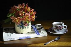 Coffee break (Maria Luiza S) Tags: coffee caf cafezinho stilllife naturezamorta flowers flores astromlias book spoon colher livro