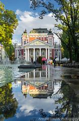 / After the autumn rain (AVasilev) Tags: autumn rain reflections fountain water trees sky national theater architecture sofia city garden