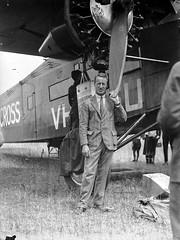 143; Kingsford-Smith standing next to aeroplane, the Southern Cross, Rongotai - 1933 (Wellington City Council) Tags: wellington historicwellington 1800s 1900s 1950s
