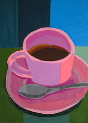 Pink Coffee Cup (Megan Coyle) Tags: coffee coffeecup coffeeart coffeecollage art collage collageart paperart papercollage pink cup mug cupofjoe illustration paintingwithpaper cutandpaste megancoyle coylecollage