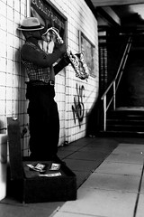 Plasticwood Metro Subway - Musicians - BW (Real Dolls of Plastic Wood) Tags: barbie photography 16 scale action figure homme fashion royalty ken diorama subway train urban jazz saxophone sax