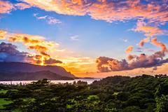 Sunset at Hanalei Lookout (jthight) Tags: usa landscape sunset pacificocean water mountains landform hawaii september clouds nikond810 trees ocean hanaleibay hanaleivalley afzoom2470mmf28g sky seascape kauai coast lightroom hanalei princeville unitedstates us