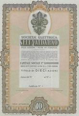 SOCIETA' ELETTRICA SELT - VALDARNO (scripofilia) Tags: 1949 azioni elettrica selt seltvaldarno societ societelettrica valdarno