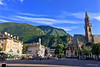 Walther Square, Bolzano, Italy (GSB Photography) Tags: bolzano bozen italy southtyrol tyrol piazzawalther duomo architecture gothic romanesque church cathedral walthervondervogelweide poet dolomites ötzitheiceman ötzi mountain sky plaza spire 100v10f 250v10f 1000v40f iphone 1500v60f 3000v120f