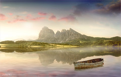 The boat (Jean-Michel Priaux) Tags: paysage landscape nature photoshop boat littleboat painting paint matte mattepainting paintingmatte sun sunset water mountain alps unreal surreal sky sunlight r