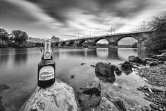 beer you, beer me, beer us together... (Zesk MF) Tags: beer commercial black white zesk trier mosel longtime langzeit ndfilter filter graufilter nd1000 nikon sigma 8mm d5500 sky dramatic water smooth nauture city rmerbrcke petrusbru flow rocks stones ufer