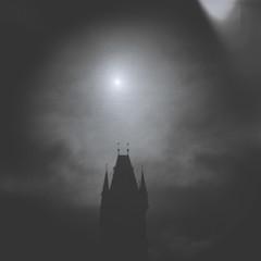 Tempus fugit: Praga (miemo) Tags: czechrepublic holga prague praha analog analogue bw blackandwhite clouds europe film kodak silhouette sky teleconverter tmax400 tower vignetting