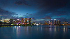 Blue Hour - Singapore Skyline (Gerald Ow) Tags: geraldow canon eos 5dmkii ef1740mm f4l cbd singapore blue hour mbs flyer garden by the bay
