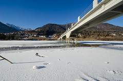 Fragili equilibri (scarpace87) Tags: bridge panorama lake snow mountains ice montagne landscape lago nikon towers surface ponte neve paesaggio ghiaccio superficie tralicci cadore calalzo vallesella d7000