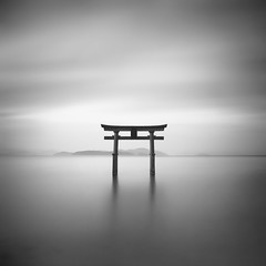 Shirahige shrine (StephenCairns) Tags: longexposure japan 日本 torii 鳥居 blackandwhitephotography 白黒写真 lakebiwa neutraldensityfilter shigaprefecture 長時間露出 stephencairns 白鬚神社 モノクロ写真 shirahigeshrine takashimashi leegraduatedfilters hitechprostopndfilters 長い時間露出