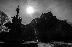 Edinburgh Castle Sunburst (Belhaven2011) Tags: city blackandwhite bw sun building castle history scotland ancient nikon edinburgh cityscape edinburghcastle scottish sunny historic explore flare sunburst 1685 explored 1685mm nikond7000 belhaven2011 johnlawsonbelhaven