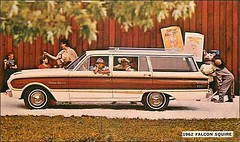 1962 Ford Falcon Squire (1950sUnlimited) Tags: travel cars ford advertising design style vehicles transportation postcards falcon 1960s advertisements classiccars automobiles midcentury