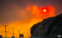 Fire! Red Sun in Orange Grey Smoke: Malibu / Ventura Wildfire May 2013 Stills & Video (45SURF Hero's Odyssey Mythology Landscapes & Godde) Tags: park santa sunset red wild anna orange cloud sun black slr yellow digital lens ed fire photography grey for model nikon purple state leo zoom photos smoke south country north surreal windy eerie canyon brush malibu burning pch sycamore ii cameras april blaze unreal nikkor camarillo winds epic ventura blocking vr afs wildfire carillo d800 clouded 70200mm f28g 2013 ventur 45surf d800e