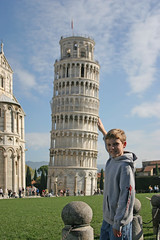 Jesse holding the tower of Pisa (Photos By Clark) Tags: family people italy jesse europe canon20d places location where printed locale immediatefamily print200611italy