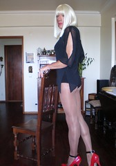 Karen (Karen Maris) Tags: pumps highheels legs bottom tights karen crossdressing tgirl transgender tranny blonde transvestite heels corset pantyhose crossdresser crossdress redshoes tg stilettos transsexual blackdress trannie feminized enfemme