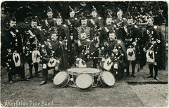 Aberfeldy pipe band, 1905 (P&KC Archive) Tags: music building tourism fashion sport architecture scotland 19thcentury perthshire scene recreation roads royalty aberfeldy spectacle perthandkinross