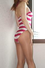 Red purple stripe swimsuit_31_End (Kyoko Matsushita) Tags:  tgirl crossdresser crossdressing transvestite cd tv swimwear swimsuit schwimmanzug badeanzug maillot baador bathingsuit stripe pantyhose stockings legs pink kyoko matsushita
