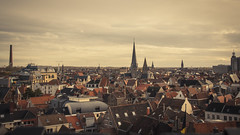 A Sea of Roofs (Gilderic Photography) Tags: city urban house cinema church canon eos europe raw cityscape belgium belgique belgie widescreen horizon wide roofs cinematic toit gent eglise ville gand clocher 500d gilderic