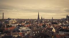 A Sea of Roofs (Gilderic Photography) Tags: city urban house cinema church canon eos europe raw cityscape belgium belgique belgie widescreen horizon wide roofs cinematic toit gent eglise ville gand clocher 500d gilderic