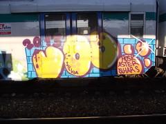 Immagine 101 (en-ri) Tags: train writing torino graffiti die or giallo vandal silvia azzurro aster arancione mattoni vod hosk qhars