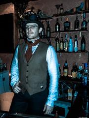 SteamPunk Waiter (JF Sebastian) Tags: barcelona portrait bar glasses costume pub bottles goggles waiter steampunk morethan100visits morethan250visits morethan500visits morethan1000visits nikoncoolpixs9100 eurosteamcon2012