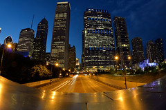 Wide Windy City View (JasonCameron) Tags: chicago illinois city skyline skyscraper street bridge buildings concrete glass metal maggie daley park blue sky hour fisheye
