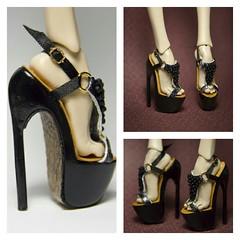 Gold crocodile (UrsiSarna) Tags: fashion popovy sisters little owl peewet bony blue jay heels wedge ballet hand made doll resin
