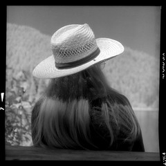 Vicki at the Lake 160844405 (jimhairphoto) Tags: trilliumlake mthood oregon america nw northwest leftcoast remainsoftheday naturalworld rolleiflex tlr 35automat k4a manufacturedin1953 twinlens rollei 120mm film 120film ilford sfx infrared blackandwhite blancetnoir schwarzeaufweis blancoynegro blancinegre siyahrebeyaz jimhairphoto