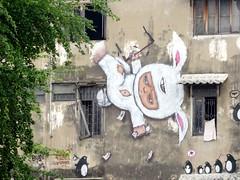 Bangkok graffiti - falling bunny boy (ashabot) Tags: bangkok thailand graffiti streetscenes streetart seasia street