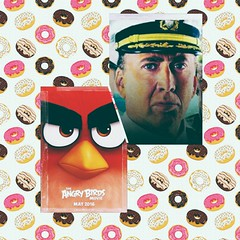 Whether only I think that Nicolas Cage looks like spiteful sparrow? /   ,       ? (leaWOWtesla) Tags: nicolas cage angry birds sparrow humor fun collage donuts food