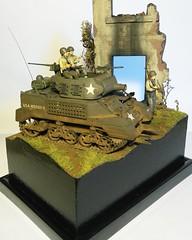 "1/35 m8a1 diorama ""hideout"" (Lewis Newbery Dioramas) Tags: 135builtmodeltank135135built135dioramadiorama m8a1 135tank ustank ww2tank"