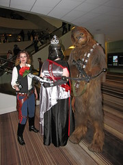 Han Solo, Miss First Order, and Chewbacca (foodbyfax) Tags: dragoncon dragoncon2016 cosplay hansolo missfirstorder captainphasma chewbacca chewie starwars