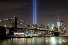 Tribute in light - Brooklyn Bridge (Noemie Trusty Photography) Tags: 911 memorial wtc nyc manhattan tributeinlight worldtradecenter brooklynbridge downtownmanhattan oneworldtradecenter 911memorial beamoflight