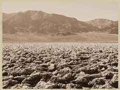 Devil's Golf Course (3 of 3) (jimsawthat) Tags: mountains sepia saltpan devilsgolfcourse desert ancientlakebed mojavedesert belowsealevel rural california deathvalleynationalpark