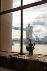 Knight of the tower of London (Ballou34) Tags: 2016 650d afol ballou34 canon eos eos650d flickr lego legographer legography minifigures photography rebelt4i stuckinplastic t4i toy toyphotography toys rebel stuck plastic knight tower london bridge sword shield window thames river cloud