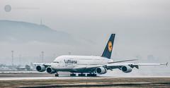 Tokio in Sofia (cossie*bossie) Tags: airbus a380 tokio lufthansa sofia bulgaria vitosha mountain rain runway sof