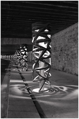Sculptural lightening (michelle@c) Tags: architecture urbain landscape cityscape tunnel urbanlight lightning sculpture stainlesssteel darkness streetwatt parisxiii bichrome michellecourteau