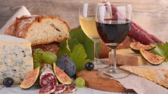 wine,cheese and sausage (POGGIO ALLA ROCCA) Tags: wine bread sausage salami cheese blue dairy product alcohol drink beverage food fig grape board dinner meal appetizer grocery composition meat assortment red whitewine glass wineglass redwine france