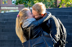 Young, sweet and beautiful love (Poupetta) Tags: lovers couple candid helsinki love embrace kiss strangers