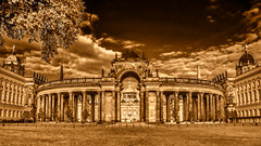 almost perfect symmetry (bocero1977) Tags: castle building history geometric old symmetric germany sky gate column architecture pillar clouds