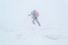 Trekking in the fog (oleksandr.mazur) Tags: activity adventure alone backpack climbing cold color dramatic emotion energy environment extreme fog frost frozen hiking landscape lifestyle lonely man mist mountaineering nature object one outdoor pastime people scene season snow snowcapped snowy sports storm tourism tourist travel trekking vacation walk weather white wilderness wind winter