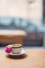 A little coffee (ninasclicks) Tags: coffee cup flowers bokeh dof