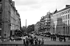 Parisian Street (EmperorNorton47) Tags: paris iledefrance france photo analog film autumn fall nikonn8008 nikonn801 fomopan100 eiffeltower street tourists blackandwhite