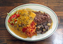Sweetest Day Dinner (genesee_metcalfs) Tags: food dinner flint sweetestday mexican echiladas rice beans stew salad hotsauce