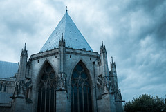 Cathedral of Ice (Daniel C P M) Tags: cathedral building ominous ice blue white clouds cloud trees bushes window stained glass wow beautiful moody outside outdoor nikon d7100 york uk england minster danmorris