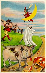 What the Pig Thought of the Ghost on Halloween (Alan Mays) Tags: ephemera postcards greetingcards greetings cards paper printed halloween holidays october31 jackolanterns pumpkins witches women broomsticks brooms witchhats hats men startled running animals pigs eating ghosts sheets moons halfmoons fences humor humorous funny comic borders illustrations orange green yellow red blue 1908 1900s antique old vintage typefaces type typography fonts juliusbien bien juliusbienco jbc postcardpublishers newyorkcity ny newyork 9802 halloweenseriesnumber980 halloweenseriesno980 postcardseries