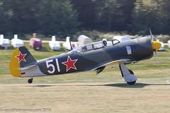 D-FYAK - 1956 LET built Yakovlev Yak-11, arriving at Hahnweide during OTT16 (egcc) Tags: 170103 51white c11 dfyak edst gbwfu gdyak hahnweide holtermann let lightroom ott16 oldtimerfliegertreffen2016 priebsch sovietairforce yak11