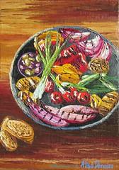 """Antipasto grill"" 2015 OIL ON CANVAS by Alisa Denoizz 14"" x 20"" #OilPainting #OilOnCanvas #PaletteKnife #TexturePainting #TextureArt #Impasto #Textures #FoodArt #KitchenArt #Antipasto #Grilled #AlisaDenoizz (alisa_denoizz) Tags: oilpainting oiloncanvas paletteknife texturepainting textureart impasto textures foodart kitchenart antipasto grilled alisadenoizz"